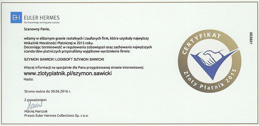 Euler Hermes Certyfikat