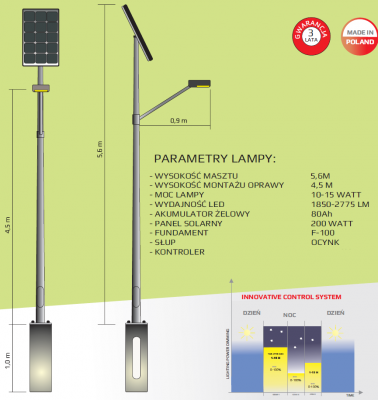 GM Lighting Lampa solarna One Way Eco 10-15W